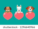 vector dogs with heart signs... | Shutterstock .eps vector #1296640966
