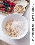bowl of flour mixed with cereal ... | Shutterstock . vector #1296648640