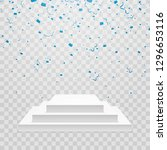 white podium with blue confetti.... | Shutterstock .eps vector #1296653116