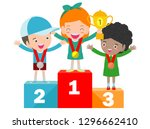 children with medals for... | Shutterstock .eps vector #1296662410
