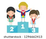 children with medals for... | Shutterstock .eps vector #1296662413