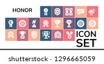 honor icon set. 19 filled... | Shutterstock .eps vector #1296665059
