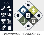 seal icon set. 13 filled seal... | Shutterstock .eps vector #1296666139
