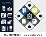 notepad icon set. 13 filled...   Shutterstock .eps vector #1296667033