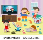 group of happy school kids in... | Shutterstock .eps vector #1296669283