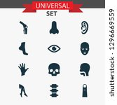 body icons set with face  ear ... | Shutterstock . vector #1296669559