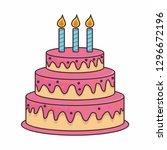 birthday cake cartoon... | Shutterstock .eps vector #1296672196