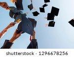 black hat of the graduates... | Shutterstock . vector #1296678256