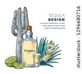 tequila sketch vector... | Shutterstock .eps vector #1296680716