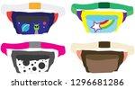 retro vector fanny pack set | Shutterstock .eps vector #1296681286
