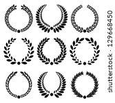 set from  black laurel wreath... | Shutterstock .eps vector #129668450