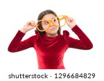 girl kid wear big eyeglasses.... | Shutterstock . vector #1296684829