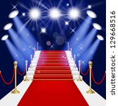 red carpet with spotlight. mesh.... | Shutterstock .eps vector #129668516