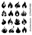 Fire Flames  Set Icons  Vector...
