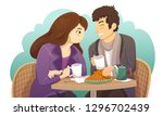 couple sitting at a table and...   Shutterstock .eps vector #1296702439
