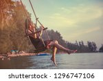 young beautiful happy woman...   Shutterstock . vector #1296747106