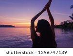 silhouette of a beautiful slim...   Shutterstock . vector #1296747139