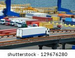 white truck transport container ... | Shutterstock . vector #129676280