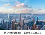 victoria harbor of hong kong... | Shutterstock . vector #1296763633