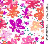colourful flowers seamless... | Shutterstock .eps vector #1296766813