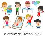 set of diverse kids. happy... | Shutterstock .eps vector #1296767740