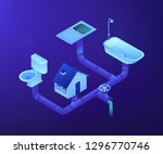 house sewage system with pipes  ... | Shutterstock .eps vector #1296770746