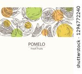 background with pomelo and... | Shutterstock .eps vector #1296772240