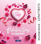 valentine's day sale poster or... | Shutterstock .eps vector #1296778573