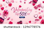 valentine's day sale poster or... | Shutterstock .eps vector #1296778576