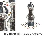 glass grinder pepper mill and... | Shutterstock . vector #1296779140