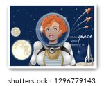 cute astronaut girl in a... | Shutterstock .eps vector #1296779143