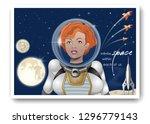 cute astronaut girl in a... | Shutterstock .eps vector #1296779143