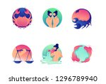 set flat icons zodiac with... | Shutterstock .eps vector #1296789940