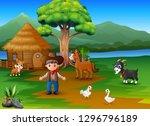 farmer activity on the... | Shutterstock .eps vector #1296796189