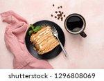 layered honey caramel cake... | Shutterstock . vector #1296808069