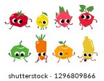 set of fruit cartoon characters.... | Shutterstock .eps vector #1296809866