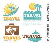 travel agency logo templates... | Shutterstock .eps vector #1296829816