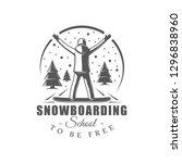 vintage snowboarding label... | Shutterstock .eps vector #1296838960