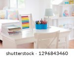 kids bedroom with wooden desk... | Shutterstock . vector #1296843460