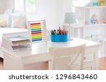 kids bedroom with wooden desk... | Shutterstock . vector #1296843460