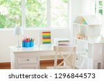 kids bedroom with wooden desk... | Shutterstock . vector #1296844573