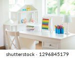 kids bedroom with wooden desk... | Shutterstock . vector #1296845179