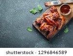 roasted chicken wings in... | Shutterstock . vector #1296846589