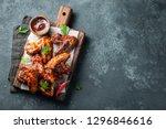 roasted chicken wings in... | Shutterstock . vector #1296846616