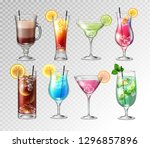 set of realistic cocktails  on... | Shutterstock .eps vector #1296857896