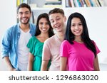 mexican girl with group of... | Shutterstock . vector #1296863020