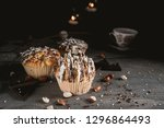 homemade muffins with chocolate ... | Shutterstock . vector #1296864493