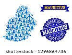 people collage of blue... | Shutterstock .eps vector #1296864736