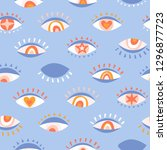 seamless pattern with eyes ... | Shutterstock .eps vector #1296877723