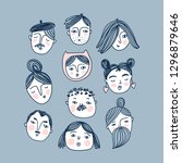 set of sketched faces isolated... | Shutterstock .eps vector #1296879646